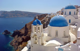 oia village on santorini island, greece poster