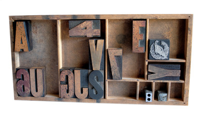 wood type, printer's cuts and metal spacing