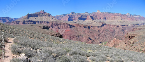 mountains and dry vegetation, grand canyon national park, united