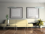 offes  interior with beige sofa 3d rendering poster