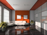 offes  interior with orange ceiling 3d rendering poster