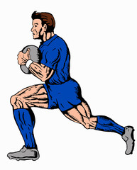 rugby player running ball blue