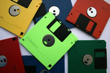 multi-coloured computer diskettes