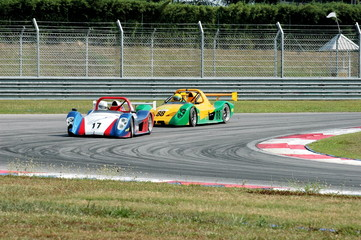 racing cars at a track