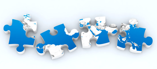 four globe puzzles isolated