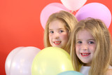 twins happy birthday balloon poster