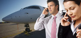 businesspeople and corporate jet poster