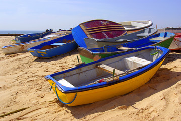 colorful rowboats