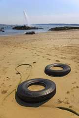 tyres in the beach