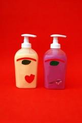 toilet ries. bottles of handwash. hygiene