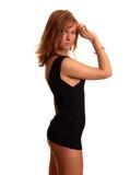 woman in short black dress poster