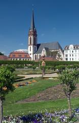 flower garden and church