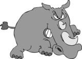 charging rhino poster