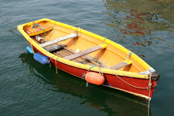 yellow and red boat.