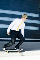 businessman skates