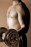 man lifting weights poster