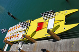 speedboat awaiting passengers poster