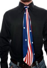 Man wearing a USA tie
