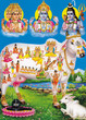 indian god brahma vishnu mahesh with holy cow
