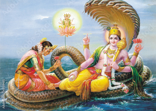 indian god bhagwan vishnu with laxmi mata