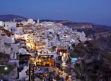 santorini at night, cyclades, greece poster