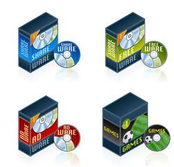 computer hardware icons set - design elements 57f