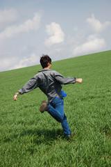 young man start running