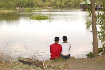 couple looking at lake