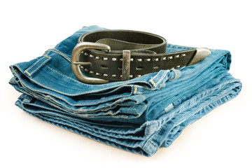 vintage jeans and leather belt