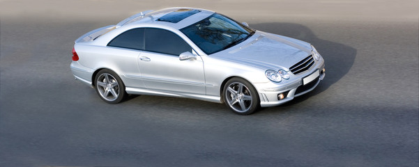 silver luxury german sport coupe car speed