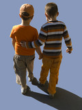 separated kids walk clipping path poster