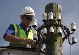 telegraph pole repair man poster
