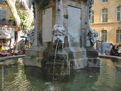 Leinwanddruck Bild artistic water fountain, aix,en,provence, marseille, france