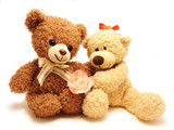 couple of teddy-bears & rose