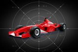 red formula one car in black background poster