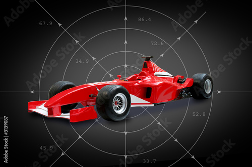 Papiers peints Motorise red formula one car in black background