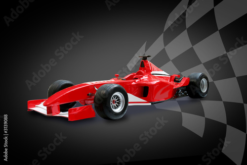 Tuinposter Motorsport red formula one car and racing flag