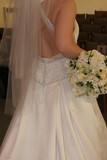 flowers on hip with wedding dress poster
