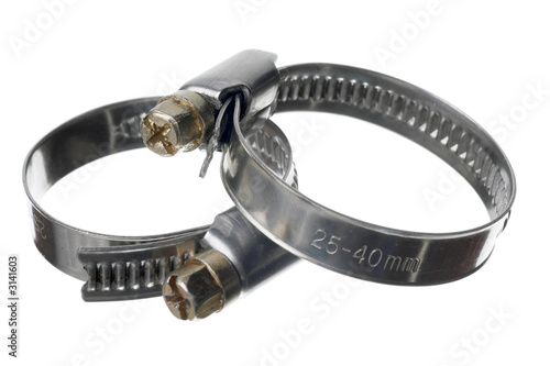 two clamps on white isolated background