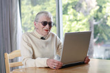 elderly lady with laptop poster