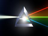 glass prism splitting white light