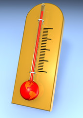 red warming earth as thermometer facing america
