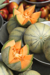 cantaloupe melons at the market