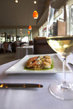 gourmet food and wine in restaurant poster