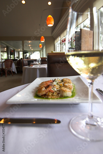 gourmet food and wine in restaurant