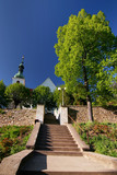 stairs to village church - czech republic/europe poster