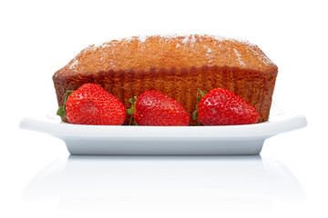 cake with three strawberries