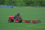 mowing the field