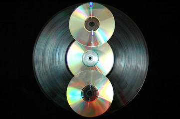 vinyl record and cds
