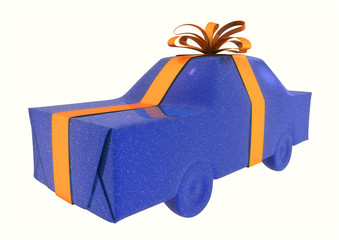 blue gift wrapped automobile car